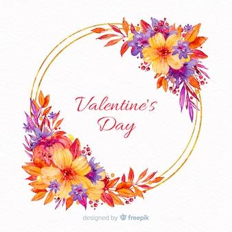Cadre floral de la saint-valentin
