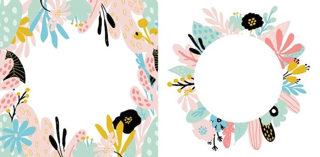 Cadre floral serti de grunge, feuilles d'arbres tropicaux, plantes abstraites, feuilles, fleurs aux couleurs pastel. pour les invitations, les cartes pour le jour du mariage, la fête des mères, l'anniversaire, la journée des femmes. illustration vectorielle