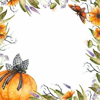 Cadre floral sur le thème de l'halloween