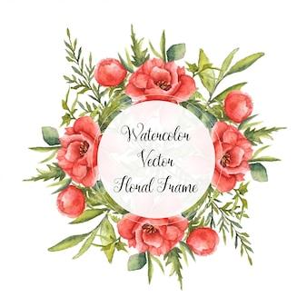 Cadre floral vecteur aquarelle