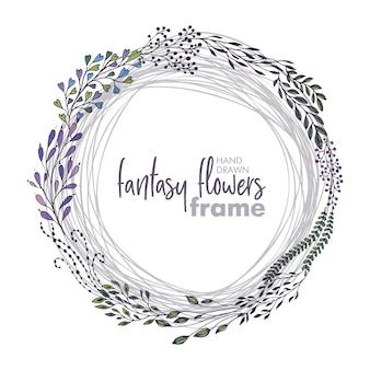 Cadre floral de vecteur avec des bouquets de fleurs, de plantes et de branches fantastiques dessinés à la main. beau modèle pour les invitations, cartes de voeux.