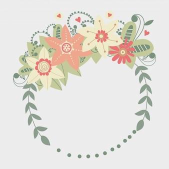 Cadre floral de vecteur avec des fleurs