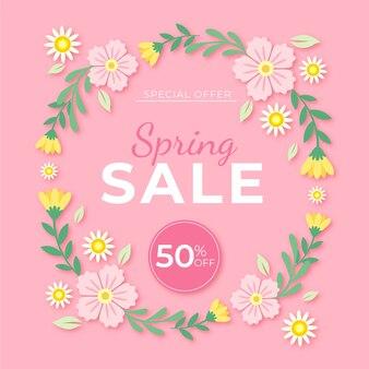 Cadre floral de vente de printemps plat