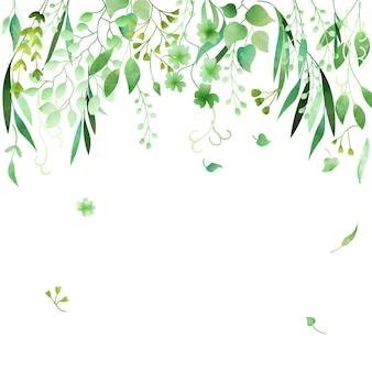 Cadre floral vert aquarelle dessiné à la main en vecteur