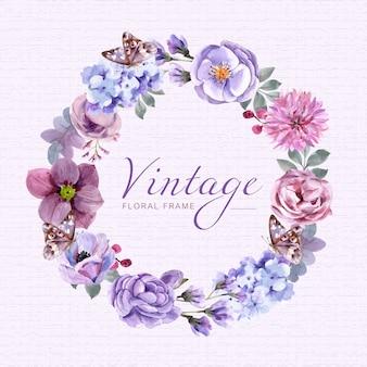 Cadre floral vintage avec aquarelle