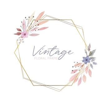 Cadre floral vintage avec bordure dorée