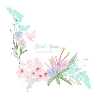 Cadre floral vintage dans un style aquarelle.
