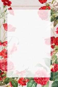 Cadre floral vintage fleurs rouges