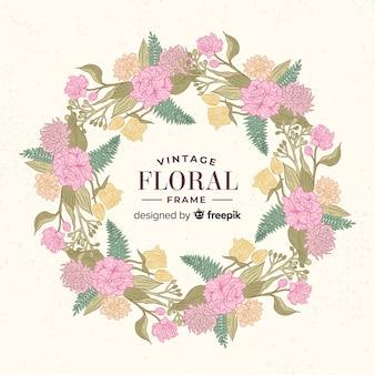 Cadre floral vintage printemps
