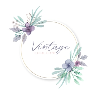Cadre floral vintage rond