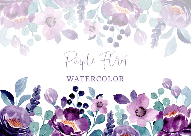 Cadre floral violet avec aquarelle