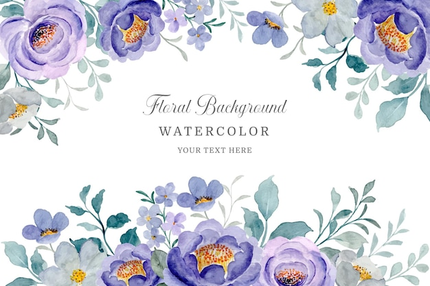 Cadre floral violet fond de fleur aquarelle