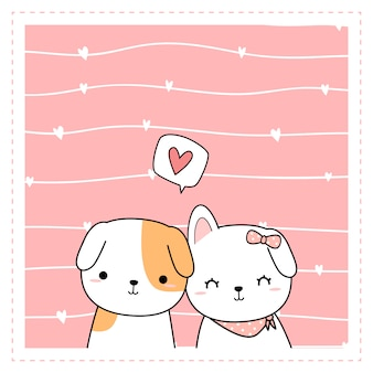 Cadre de fond doodle dessin animé couple amoureux de chien mignon