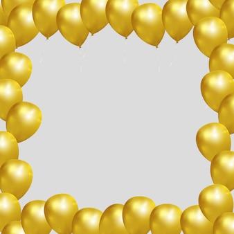 Cadre de fond festif avec des ballons en or
