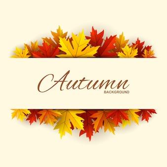 Cadre avec fond de feuilles d'automne