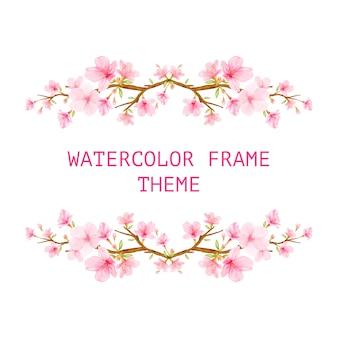 Cadre de fond de fleurs de cerisier avec des fleurs dessinées à la main
