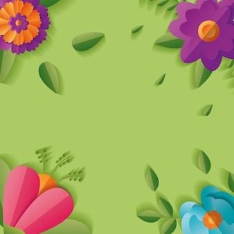 Cadre de fond floral de fleurs