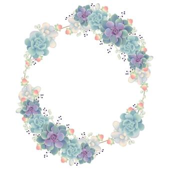Cadre fond floral avec des plantes succulentes