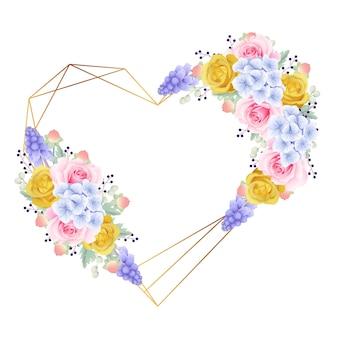 Cadre fond floral avec des roses et des hortensias