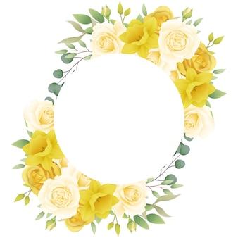 Cadre fond floral avec des roses et des jonquilles