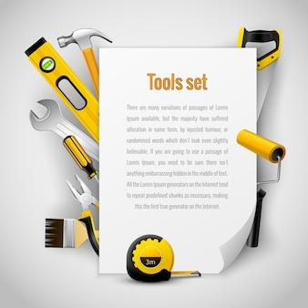 Cadre de fond d'outils de charpentier réaliste