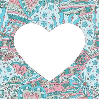 Cadre sur fond peint abstrait de coeurs