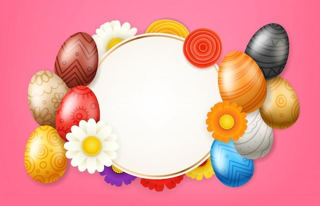 Cadre de fond de vecteur de joyeuses pâques. carte de voeux de vacances christiales