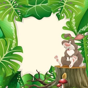 Cadre de forêt de lapin mignon