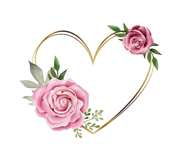 Cadre en forme de coeur doré avec composition de fleurs aquarelle