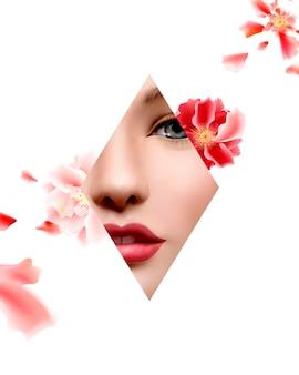 Cadre de forme florale et géométrique du visage du modèle