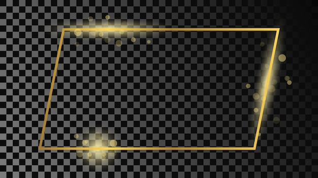 Cadre de forme rectangulaire brillant d'or isolé sur fond transparent foncé. cadre brillant avec des effets lumineux. illustration vectorielle.