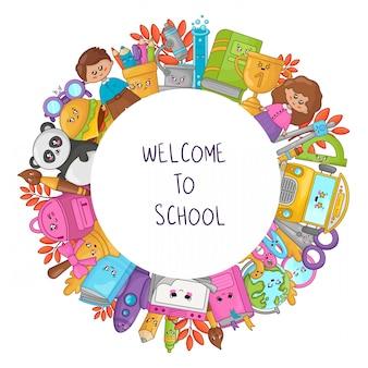 Cadre avec des fournitures scolaires kawaii et des personnages de dessins animés mignons - enfants, livre, crayon, alphabet