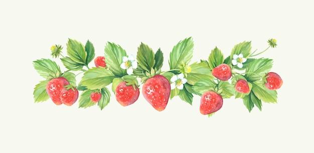 Cadre de fraise aquarelle.