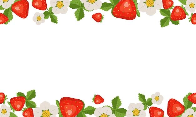 Cadre avec fraises, feuilles et fleurs sur blanc
