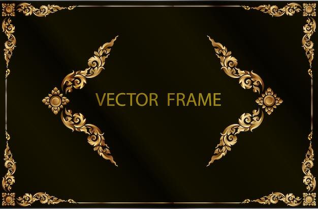Cadre de frontière d'or avec la ligne de coin floral pour l'image