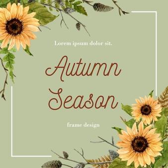 Cadre de frontière sur le thème de l'automne.
