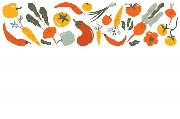 Cadre de frontière de vecteur de nourriture de légumes dessinés à la main plate