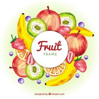 Cadre de fruit aquarelle