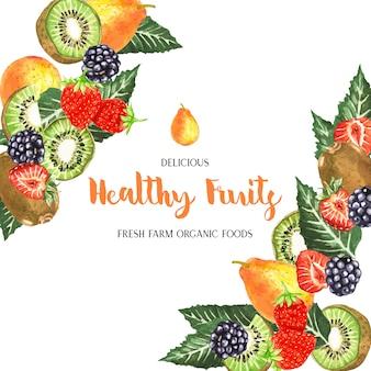 Cadre de fruits aquarelle