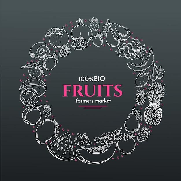 Cadre avec fruits dessinés à la main