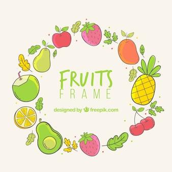 Cadre de fruits dessinés à la main
