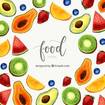 Cadre de fruits frais aquarelle