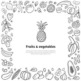 Cadre avec fruits et légumes dessinés à la main