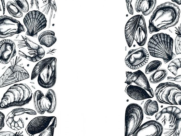 Cadre de fruits de mer dessiné à la main. avec poissons frais, homard, crabe, crustacés, calamars, mollusques, caviar, crevettes. modèle de menu de croquis de fruits de mer vintage