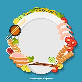 Cadre avec des fruits de mer et des sushis