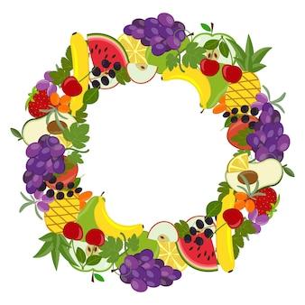 Cadre de fruits ronds, illustration vectorielle isolé