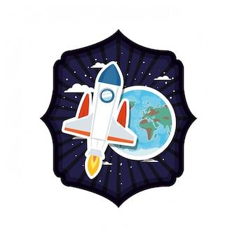 Cadre avec fusée et planète du système solaire