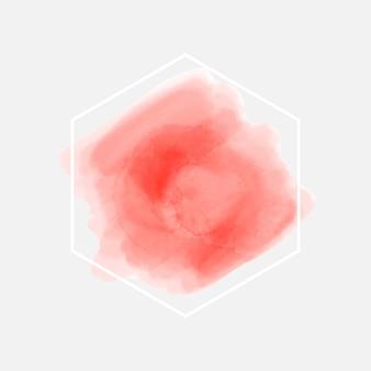 Cadre géométrique blanc tache aquarelle