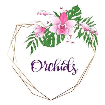 Cadre géométrique design floral