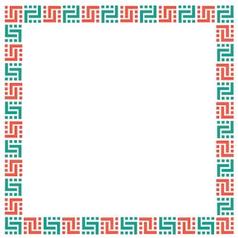 Cadre géométrique ethnique sur blanc